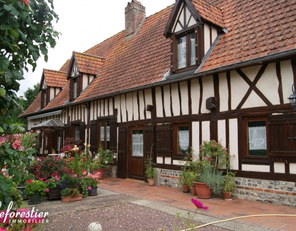 Half-timbered Norman house and outbuildings on about 4.7 acres grounds in Dieppe area 5048